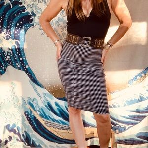 Slimming patterned pencil skirt elastic waist 4-6